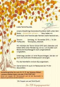 Einladung Saisonabschlussfeier 2015
